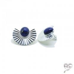 Boucles d'oreilles ethnique avec lapis lazuli en cabochon, large en argent, pierre naturelle, bohéme, tendance