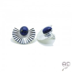 Boucles d'oreilles ethnique lapis lazuli, large en argent, pierre naturelle, bohéme, tendance