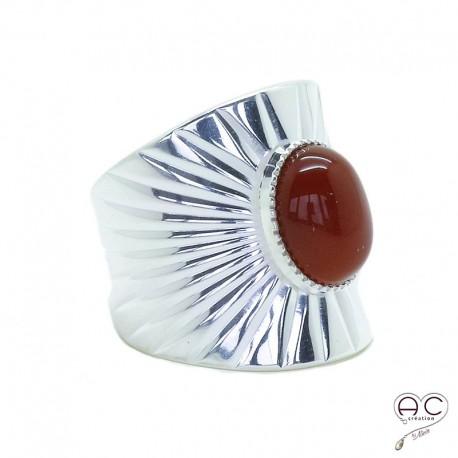 Bague ethnique cornaline, anneau large ouvert en argent, pierre naturelle, bohéme, tendance
