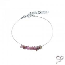Bracelet tourmaline rose, pierre naturelle sur une chaîne en argent 925 rhodié, création by Alicia