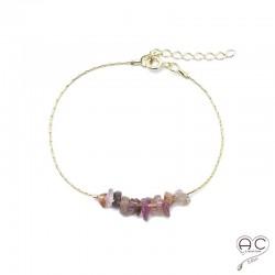 Bracelet tourmaline rose, pierre naturelle sure une chaîne en plaqué or, création by Alicia