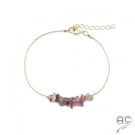 Bracelet tourmaline rose, pierre naturelle sure une chaîne en plaqué or, création