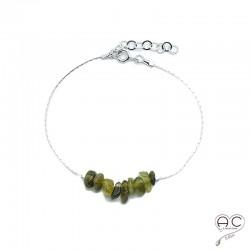 Bracelet tourmaline kaki, pierre naturelle sur une chaîne en argent rhodié, création