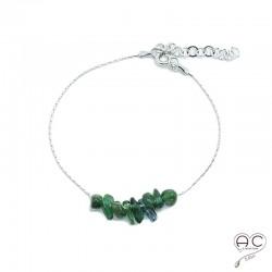 Bracelet tourmaline verte, pierre naturelle sur une chaîne en argent rhodié, création