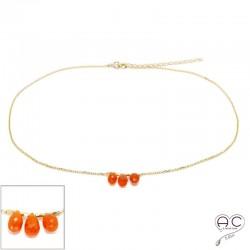 Collier ras de cou pierre naturelle cornaline , trois gouttes sur une chaîne en plaqué or, création, tendance