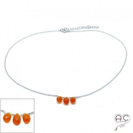 Collier ras de cou pierre naturelle cornaline , trois gouttes sur une chaîne en argent rhodié, création, tendance
