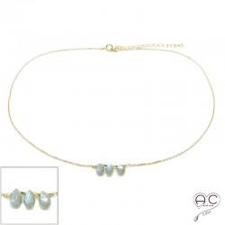 Collier ras de cou pierre naturelle labradorite, trois gouttes sur une chaîne en plaqué or, création, tendance