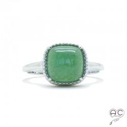 Bague avec aventurine en cabochon, carrée, pierre semi-précieuse verte, argent 925 rhodié, femme