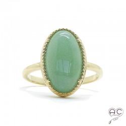 Bague aventurine cabochon, ovale, pierre semi-précieuse verte, plaqué or