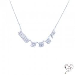 Collier ras du cou, serti zirconium brillant en argent 925 rhodié,femme, joaillerie