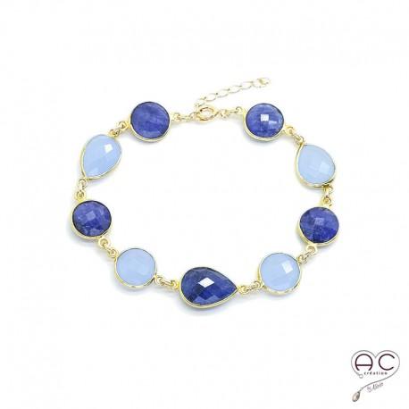 bracelet pierre fine bleu calc doine saphir femme fait. Black Bedroom Furniture Sets. Home Design Ideas