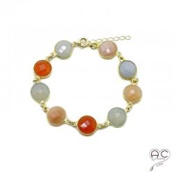 Bracelet cascade de pierres semi-précieuses oranges,cornaline, pierre de soleil, agate grise en plaqué or, femme, création