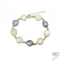 Bracelet cascade de pierres semi-précieuses, améthyste, quartz rose, pierre de lune en plaqué or, femme, création