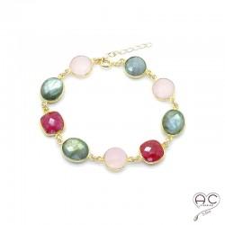 Bracelet cascade de pierres semi-précieuses, labradorite, quartz rose, sillimanite rubis en plaqué or, femme, création