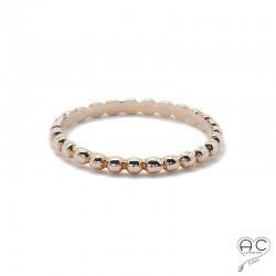 Bague anneau fin avec pampille ronde argent 925 rhodié rosé