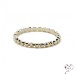 Bague anneau fin en plaqué or, demi-boules, empilable, femme, tendance