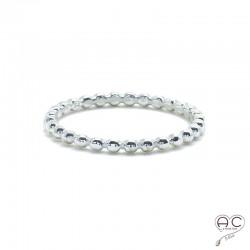 Bague anneau fin en argent 925, demi-boules, empilable, femme, tendance