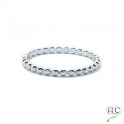Bague anneau fin en argent rhodié, demi-boules, empilable, femme, tendance