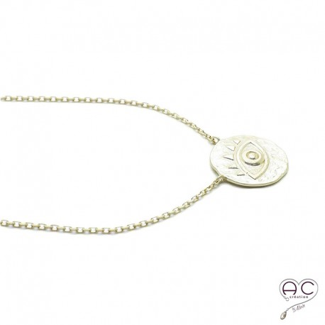 achat authentique moderne et élégant à la mode magasins populaires collier médaille ronde oeil plaqué or satiné ethnique femme tendance