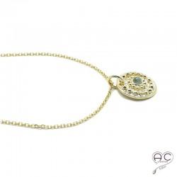 Médaille ethnique sertie d'une pierre de lune, en plaqué or, tendance, bohème