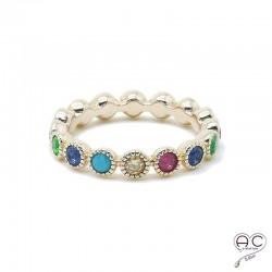 Bague anneau fin serti de zirconium multi couleur tour complet en plaqué or, femme