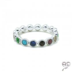 Bague anneau fin serti de zirconium multi couleur tour complet en argent 925 rhodié, empilable, femme