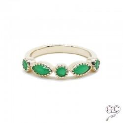 Bague vert émeraude, en plaqué or, serti de zirconium, empilable, femme, tendance