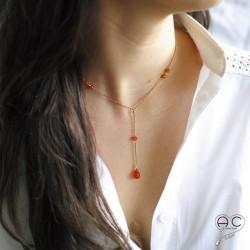 Collier cravatte ras de cou pierre naturelle, cornaline goutte sur une chaîne en plaqué or, création, tendance