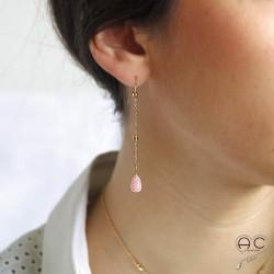 Boucles d'oreilles pierre naturelle opale rose goutte sur une chaîne en plaqué or, longues, pendantes, création, tendance
