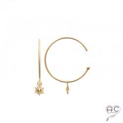 Boucles d'oreilles créoles avec motif pendant soleil, en plaqué or, femme, tendance