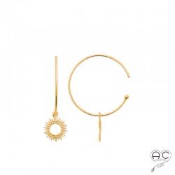 Boucles d'oreilles créoles avec médaille pendant motif soleil, en plaqué or, femme, tendance