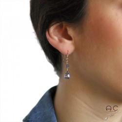 Boucles d'oreilles pierre naturelle quartz bleu goutte en plaqué or, courtes, pendantes, création, tendance