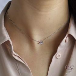 Collier ras de cou croissant de lune et petit brillant en cristal sur une chaîne en argent rhodié, création, tendance