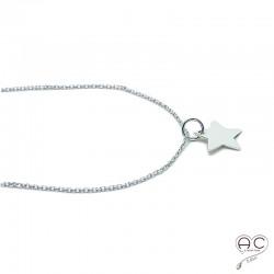 Collier, pendentif étoile en argent 925, ras de cou, tendance, femme, bohème