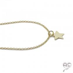 Collier, pendentif étoile en plaqué or, ras de cou, tendance, bohème