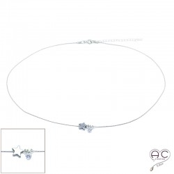 Collier étoile en hématite et petit brillant en cristal sur une chaîne serpent en argent 925 rhodié, ras de cou, création