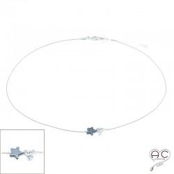 Collier étoile en hématite noire et petit brillant en cristal sur une chaîne serpent en argent 925 rhodié, ras de cou, création