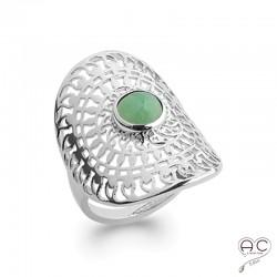 Bague ajourée d'inspiration ethnique, longue avec aventurine, pierre naturelle verte et argent 925 rhodié, femme