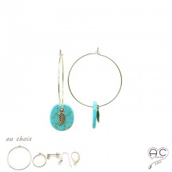 Boucles d'oreilles créoles avec pendant turquoise et feuille en plaqué or, femme, tendance