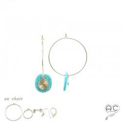 Boucles d'oreilles créoles avec pendant turquoise et soleil en plaqué or, femme, tendance