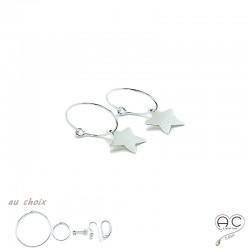 Boucles d'oreilles mini créoles avec pendent étoile en argent 925 et choix des différentes attaches, femme, tendance