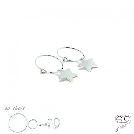 Boucles d'oreilles mini créoles avec pendent étoile en argent 925, femme, tendance