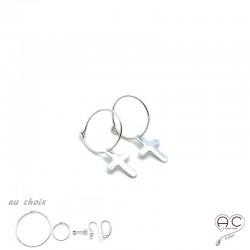 Boucles d'oreilles mini créoles avec pendent croix en argent 925, femme, tendance