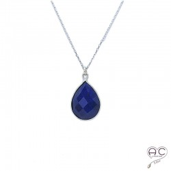 Collier pendentif lapis lazuli goutte, pierre naturelle et argent 925, ras de cou, création