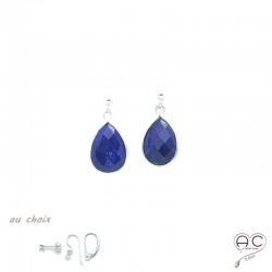 Boucles d'oreilles lapis lazuli goutte, pierre naturelle et argent 925, pendantes, création