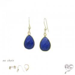 Boucles d'oreilles lapis lazuli goutte, pierre naturelle et plaqué or, pendantes, création