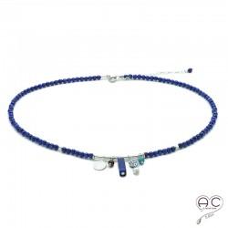 Collier lapis lazuli avec multiples pampilles, ras de cou, pierre naturelle et argent 925, création, tendance