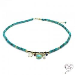 Collier turquoise véritable avec multiples pampilles, ras de cou, pierre naturelle et plaqué or, création, tendance