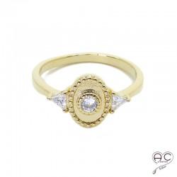 Bague fine vintage ovale en plaqué or, serti de zircon, femme