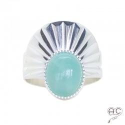 Bague pierre naturelle amazonite ovale cabochon, anneau ciselé ouvert en argent 925